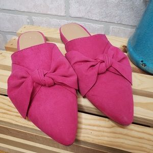 A New Day Hot Pink Bow Detail Mules